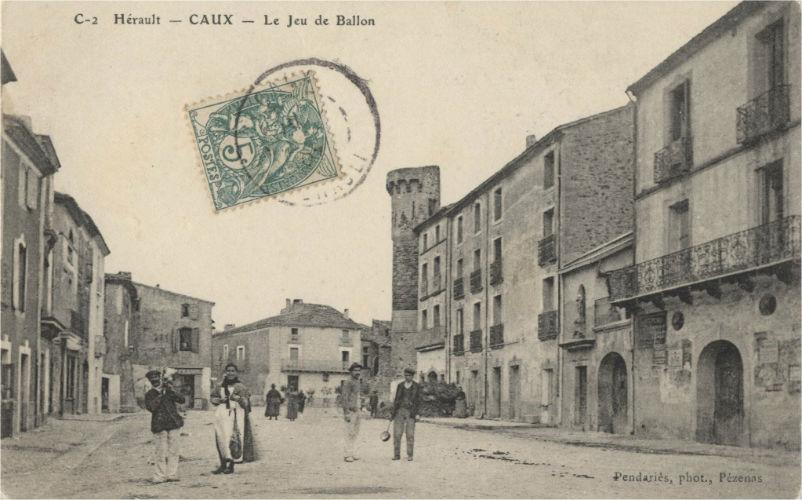 carte postale caux tour et jeu de ballon
